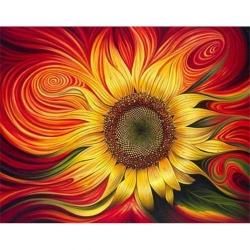 Pictura pe numere 60x75 cm - Panza din bumbac pe rama de lemn - Floarea Soarelui (PDP-160)