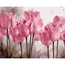 Pictura pe numere - Panza din bumbac pe rama de lemn 40*50 cm - Pink Tulips (PDP-555)
