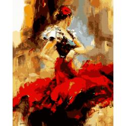 Pictura pe numere - Panza din bumbac pe rama de lemn 40*50 cm - Red Tango (2) (XZC-078)