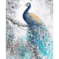 Pictura pe numere - Panza din bumbac pe rama de lemn 40*50 cm - Vis de Paun (XZC-776)
