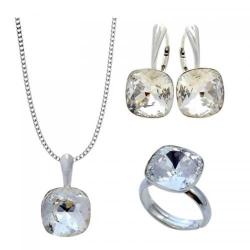 Set Argint 925 (Cercei, Inel, Lantisor si Pandantiv), Set SWAROVSKI Brilliant Crystal Clear + CADOU Laveta profesionala pentru curatat bijuteriile din argint
