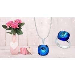 Set Argint 925 (Cercei, Inel, Lantisor si Pandantiv), Set SWAROVSKI Brilliant Electric Blue + CADOU Laveta profesionala pentru curatat bijuteriile din argint