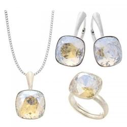 Set Argint 925 (Cercei, Inel, Lantisor si Pandantiv), Set SWAROVSKI Brilliant Moonlight + CADOU Laveta profesionala pentru curatat bijuteriile din argint