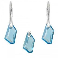Set Argint 925, Set SWAROVSKI Crystals Art Aquamarine + CADOU Laveta profesionala pentru curatat bijuteriile din argint + Cutie Cadou