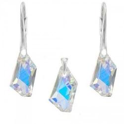 Set Argint 925, Set SWAROVSKI Crystals Art Aurora Boreala + CADOU Laveta profesionala pentru curatat bijuteriile din argint + Cutie Cadou
