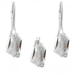 Set Argint 925, Set SWAROVSKI Crystals Art Crystal Clear + CADOU Laveta profesionala pentru curatat bijuteriile din argint + Cutie Cadou