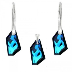 Set Argint 925, Set SWAROVSKI Crystals Art Electric Blue + CADOU Laveta profesionala pentru curatat bijuteriile din argint + Cutie Cadou