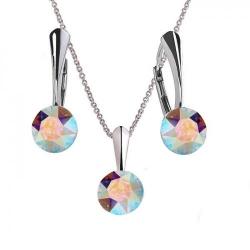Set Argint 925, Set Swarovski Crystals Finesse Aurora Boreala  + CADOU Laveta profesionala pentru curatat bijuteriile din argint + Cutie Cadou