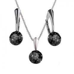 Set Argint 925, Set Swarovski Crystals Finesse Black Patina  + CADOU Laveta profesionala pentru curatat bijuteriile din argint + Cutie Cadou