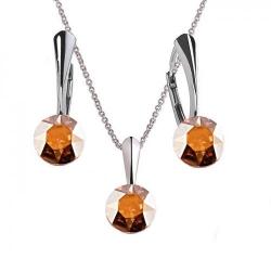 Set Argint 925, Set Swarovski Crystals Finesse Metallic Sunshine  + CADOU Laveta profesionala pentru curatat bijuteriile din argint + Cutie Cadou