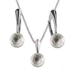 Set Argint 925, Set Swarovski Crystals Finesse Powder Green  + CADOU Laveta profesionala pentru curatat bijuteriile din argint + Cutie Cadou