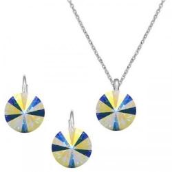 Set Argint 925, Set Swarovski Crystals Grace Aurora Boreala + CADOU Laveta profesionala pentru curatat bijuteriile din argint + Cutie Cadou