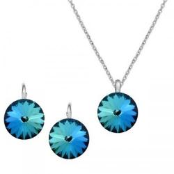 Set Argint 925, Set Swarovski Crystals Grace Electric Blue + CADOU Laveta profesionala pentru curatat bijuteriile din argint + Cutie Cadou