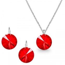 Set Argint 925, Set Swarovski Crystals Grace Light Siam + CADOU Laveta profesionala pentru curatat bijuteriile din argint + Cutie Cadou