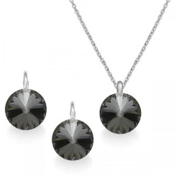 Set Argint 925, Set Swarovski Crystals Grace Night + CADOU Laveta profesionala pentru curatat bijuteriile din argint + Cutie Cadou