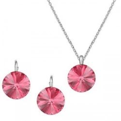 Set Argint 925, Set Swarovski Crystals Grace Rose + CADOU Laveta profesionala pentru curatat bijuteriile din argint + Cutie Cadou