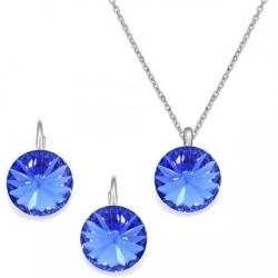 Set Argint 925, Set Swarovski Crystals Grace Sapphire + CADOU Laveta profesionala pentru curatat bijuteriile din argint + Cutie Cadou