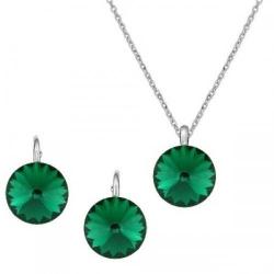 Set Argint 925, Set Swarovski Crystals Grace Smarald + CADOU Laveta profesionala pentru curatat bijuteriile din argint + Cutie Cadou