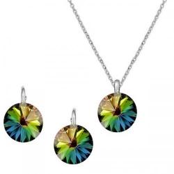 Set Argint 925, Set Swarovski Crystals Grace Vitrail + CADOU Laveta profesionala pentru curatat bijuteriile din argint + Cutie Cadou