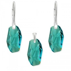 Set Argint 925, Set SWAROVSKI Crystals Meteor Light Turquoise + CADOU Laveta profesionala pentru curatat bijuteriile din argint + Cutie Cadou