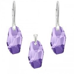 Set Argint 925, Set SWAROVSKI Crystals Meteor Tanzanite + CADOU Laveta profesionala pentru curatat bijuteriile din argint + Cutie Cadou