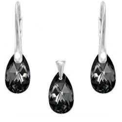 Set Argint 925, Set SWAROVSKI Crystals Style 16mm Night + CADOU Laveta profesionala pentru curatat bijuteriile din argint