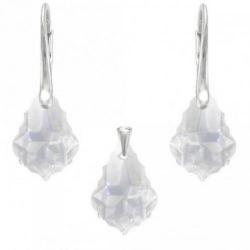 Set Argint 925, Set SWAROVSKI Crystals Unique Crystal + CADOU Laveta profesionala pentru curatat bijuteriile din argint + Cutie Cadou