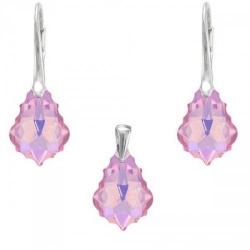 Set Argint 925, Set SWAROVSKI Crystals Unique Rose AB + CADOU Laveta profesionala pentru curatat bijuteriile din argint + Cutie Cadou