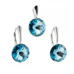 Set Argint 925, Set SWAROVSKI Grace Aquamarine + CADOU Laveta profesionala pentru curatat bijuteriile din argint + Cutie Cadou