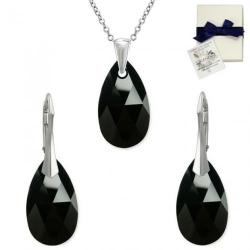 Set Argint 925, Set SWAROVSKI Style Black 22mm + CADOU Laveta profesionala pentru curatat bijuteriile din argint + Cutie Cadou