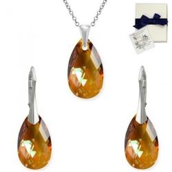 Set Argint 925, Set SWAROVSKI Style Copper 22mm + CADOU Laveta profesionala pentru curatat bijuteriile din argint + Cutie Cadou