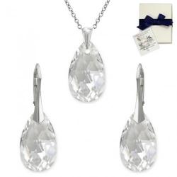 Set Argint 925, Set SWAROVSKI Style Crystal Clear 22mm + CADOU Laveta profesionala pentru curatat bijuteriile din argint + Cutie Cadou