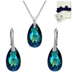 Set Argint 925, Set SWAROVSKI Style Electric Blue 22mm + CADOU Laveta profesionala pentru curatat bijuteriile din argint + Cutie Cadou