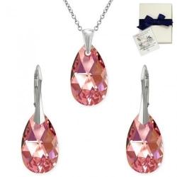 Set Argint 925, Set SWAROVSKI Style Light Rose Aurore Boreale 22mm + CADOU Laveta profesionala pentru curatat bijuteriile din argint + Cutie Cadou