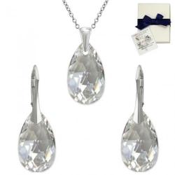 Set Argint 925, Set SWAROVSKI Style Moonlight 22mm + CADOU Laveta profesionala pentru curatat bijuteriile din argint + Cutie Cadou