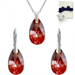 Set Argint 925, Set SWAROVSKI Style Red Magma 22mm + CADOU Laveta profesionala pentru curatat bijuteriile din argint + Cutie Cadou
