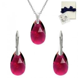 Set Argint 925, Set SWAROVSKI Style Ruby 22mm + CADOU Laveta profesionala pentru curatat bijuteriile din argint + Cutie Cadou