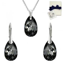 Set Argint 925, Set SWAROVSKI Style Silver Night 22mm + CADOU Laveta profesionala pentru curatat bijuteriile din argint + Cutie Cadou