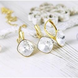 Set bijuterii Argint 925 placat cu Aur 24k, Set SWAROVSKI Brilliant Crystal Clear + CADOU Laveta profesionala pentru curatat bijuteriile din argint