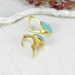 Set bijuterii Argint 925 placat cu Aur 24k, Set SWAROVSKI Brilliant Green Opal + CADOU Laveta profesionala pentru curatat bijuteriile din argint + Cutie Cadou