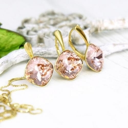 Set bijuterii Argint 925 placat cu Aur 24k, Set SWAROVSKI Brilliant Vintage Rose + CADOU Laveta profesionala pentru curatat bijuteriile din argint + Cutie Cadou