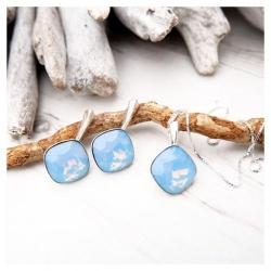 Set bijuterii Argint 925, Set SWAROVSKI Brilliant Blue Opal + CADOU Laveta profesionala pentru curatat bijuteriile din argint + Cutie Cadou