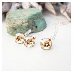 Set bijuterii Argint 925, Set SWAROVSKI Brilliant Gold + CADOU Laveta profesionala pentru curatat bijuteriile din argint + Cutie Cadou