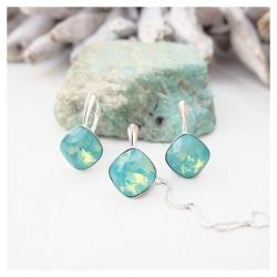 Set bijuterii Argint 925, Set SWAROVSKI Brilliant Green Opal + CADOU Laveta profesionala pentru curatat bijuteriile din argint + Cutie Cadou