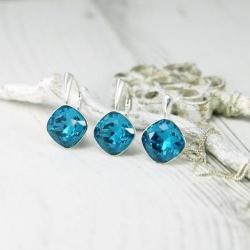 Set bijuterii Argint 925, Set SWAROVSKI Brilliant Indicolite + CADOU Laveta profesionala pentru curatat bijuteriile din argint