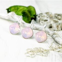 Set bijuterii Argint 925, Set SWAROVSKI Brilliant Rose Opal + CADOU Laveta profesionala pentru curatat bijuteriile din argint + Cutie Cadou