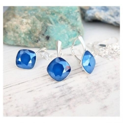 Set bijuterii Argint 925, Set SWAROVSKI Brilliant Royal Blue + CADOU Laveta profesionala pentru curatat bijuteriile din argint + Cutie Cadou