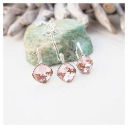 Set bijuterii Argint 925, Set SWAROVSKI Brilliant Vintage Rose + CADOU Laveta profesionala pentru curatat bijuteriile din argint + Cutie Cadou