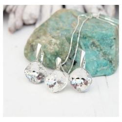 Set bijuterii Argint 925, Set SWAROVSKI Brilliant Crystal Clear + CADOU Laveta profesionala pentru curatat bijuteriile din argint + Cutie Cadou