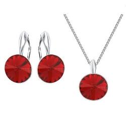 Set bijuterii Argint 925, Set SWAROVSKI Crystals Grace (2) Scarlet + CADOU Laveta profesionala pentru curatat bijuteriile din argint